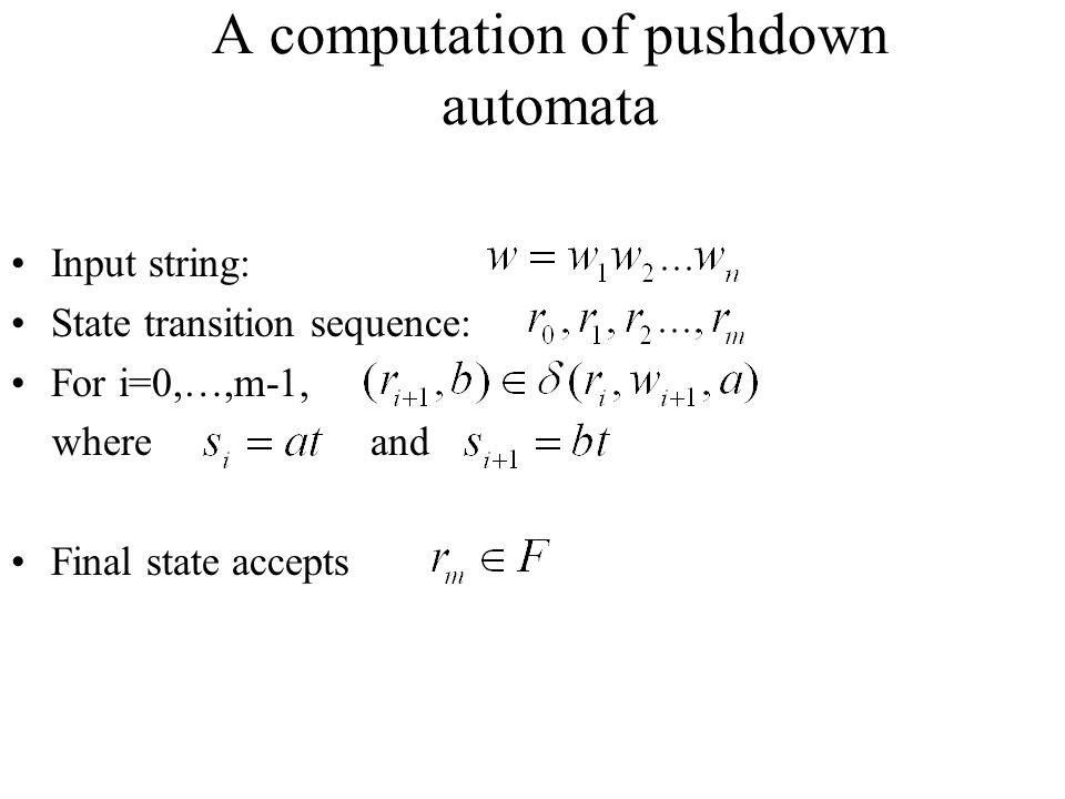 A computation of pushdown automata