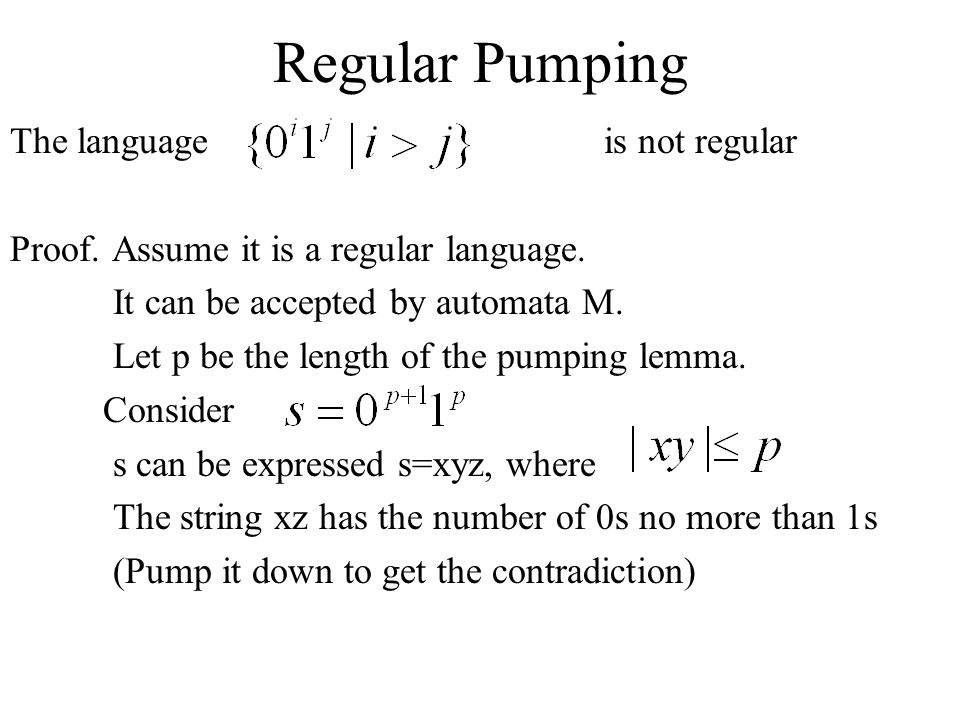 Regular Pumping The language is not regular