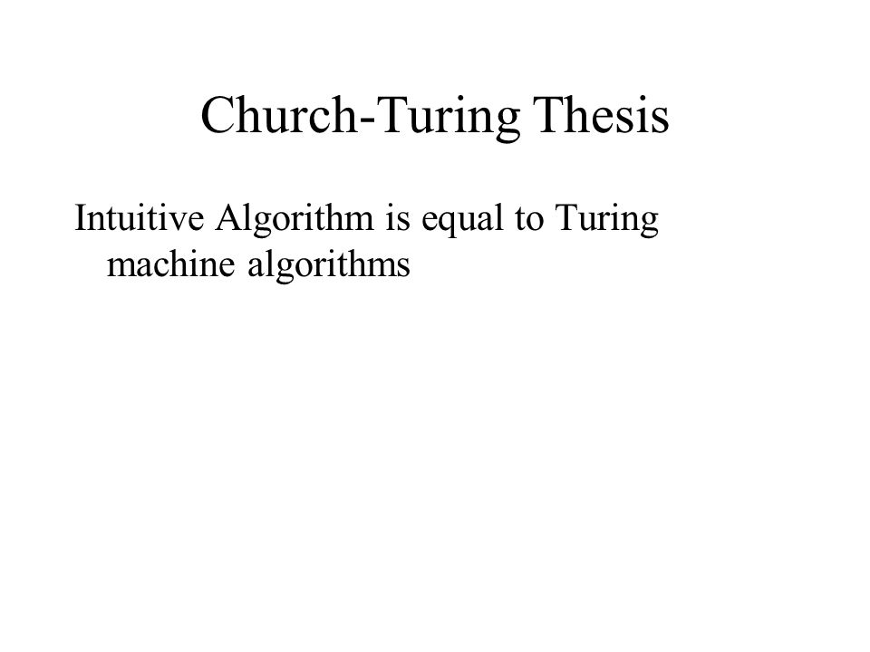 Church-Turing Thesis Intuitive Algorithm is equal to Turing machine algorithms