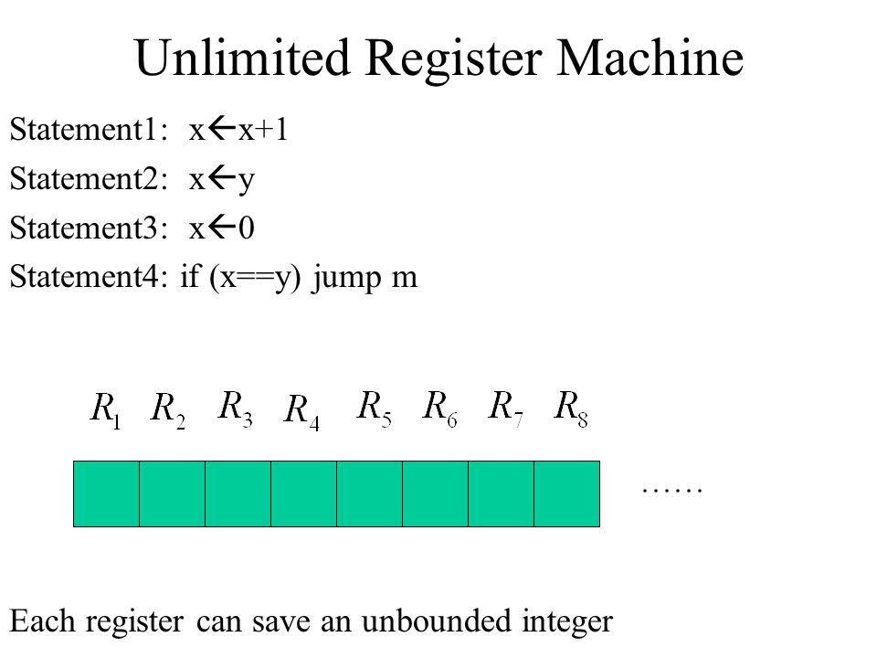 Unlimited Register Machine