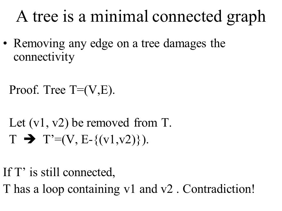 A tree is a minimal connected graph