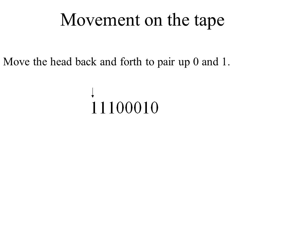 Movement on the tape Move the head back and forth to pair up 0 and 1.