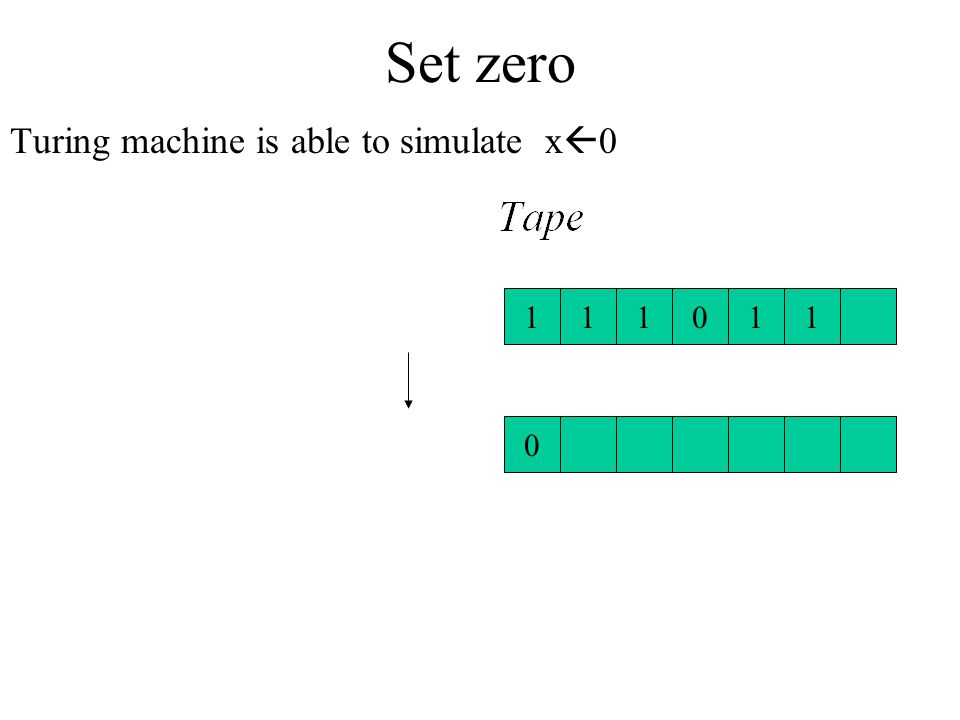 Set zero Turing machine is able to simulate x0 1 1 1 1 1