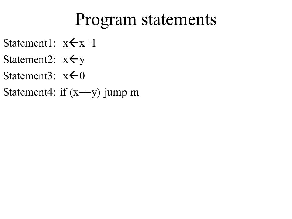 Program statements Statement1: xx+1 Statement2: xy Statement3: x0
