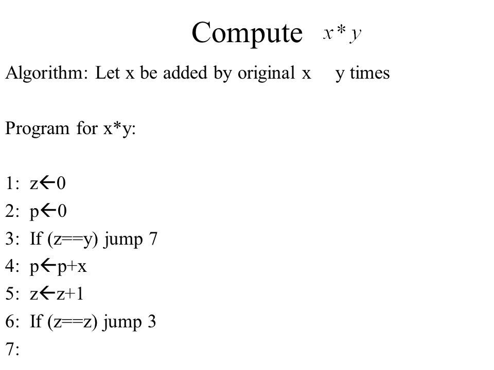 Compute Algorithm: Let x be added by original x y times
