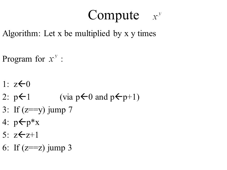 Compute Algorithm: Let x be multiplied by x y times Program for :