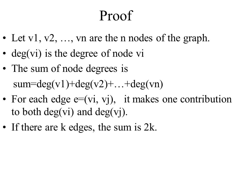 Proof Let v1, v2, …, vn are the n nodes of the graph.