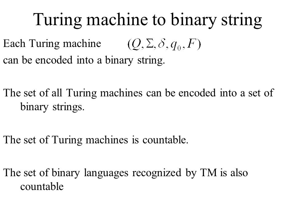 Turing machine to binary string