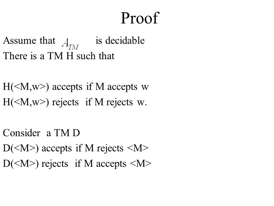 Proof Assume that is decidable There is a TM H such that