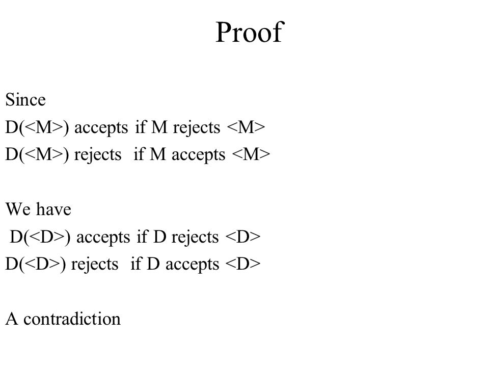 Proof Since D(<M>) accepts if M rejects <M>