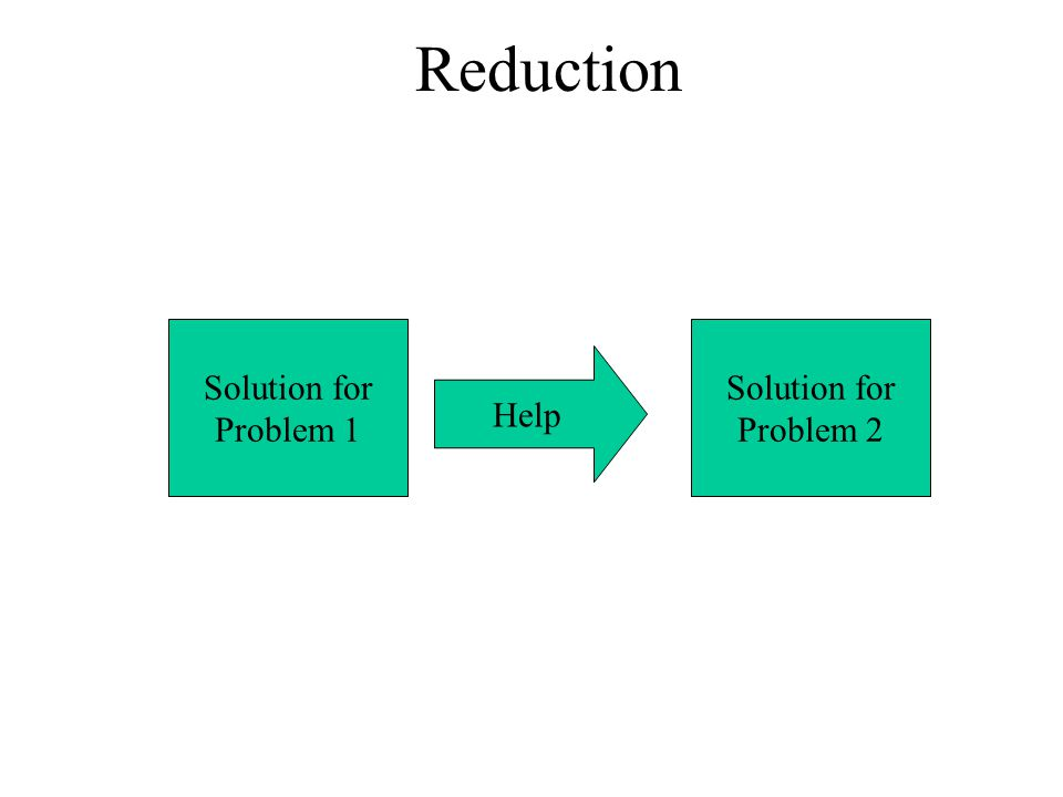 Reduction Solution for Problem 1 Solution for Problem 2 Help