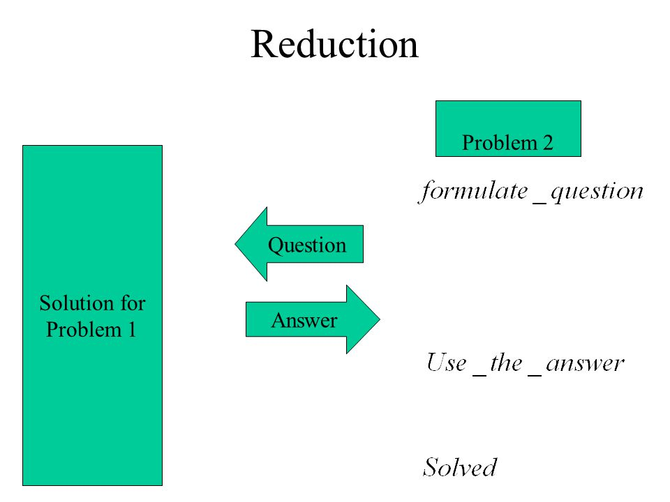 Reduction Problem 2 Solution for Problem 1 Question Answer