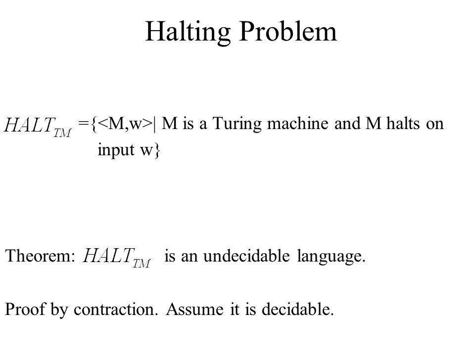 Halting Problem ={<M,w>| M is a Turing machine and M halts on