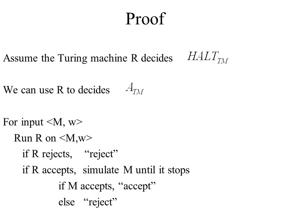 Proof Assume the Turing machine R decides We can use R to decides