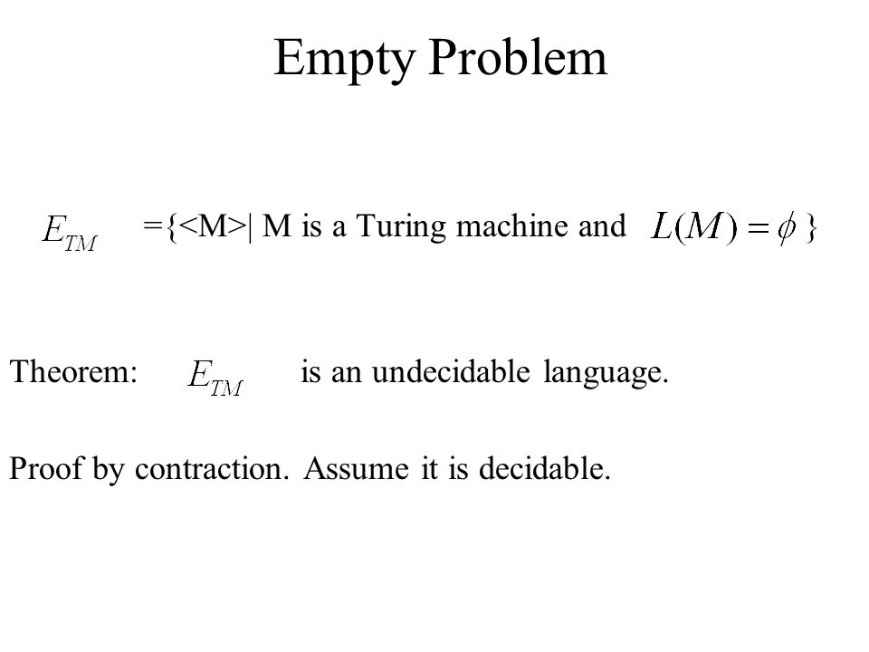 Empty Problem ={<M>| M is a Turing machine and }