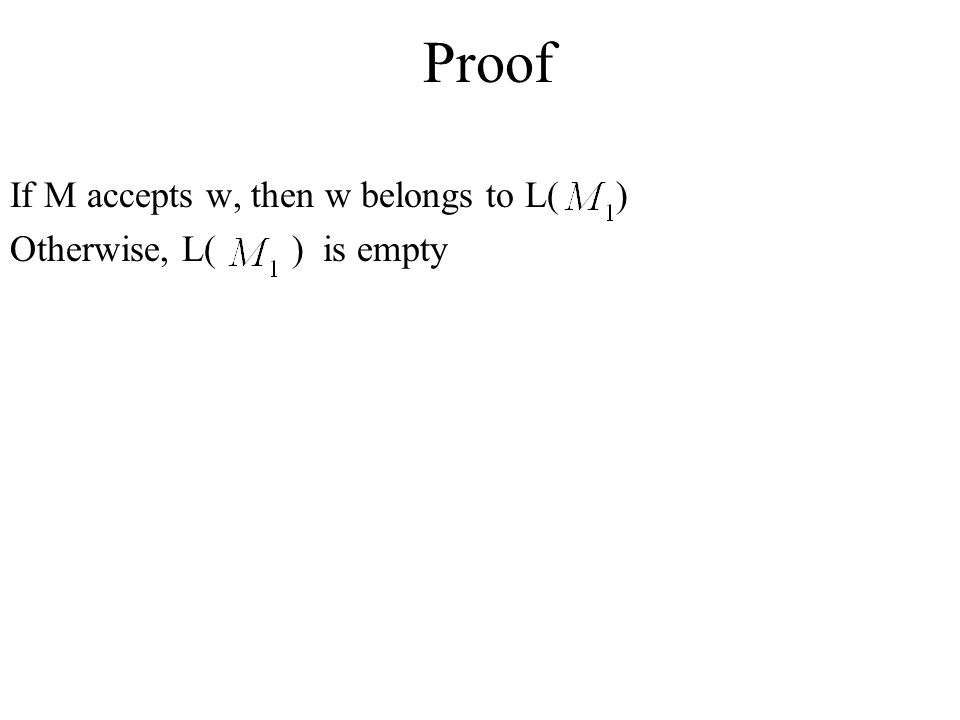 Proof If M accepts w, then w belongs to L( ) Otherwise, L( ) is empty
