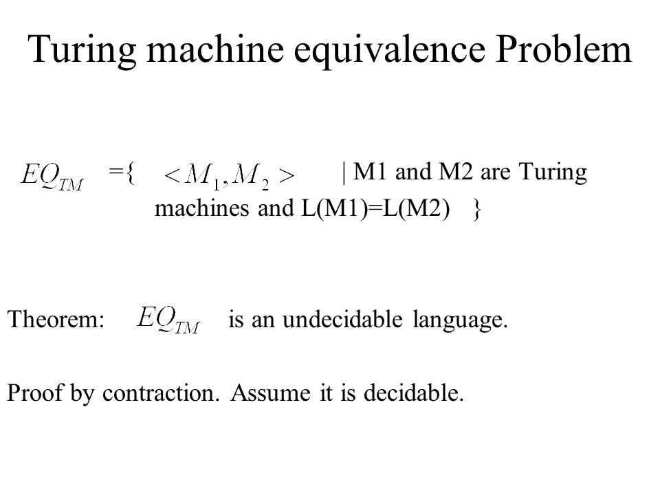 Turing machine equivalence Problem