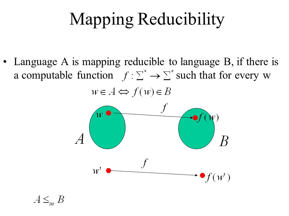 Mapping Reducibility Language A is mapping reducible to language B, if there is a computable function such that for every w.