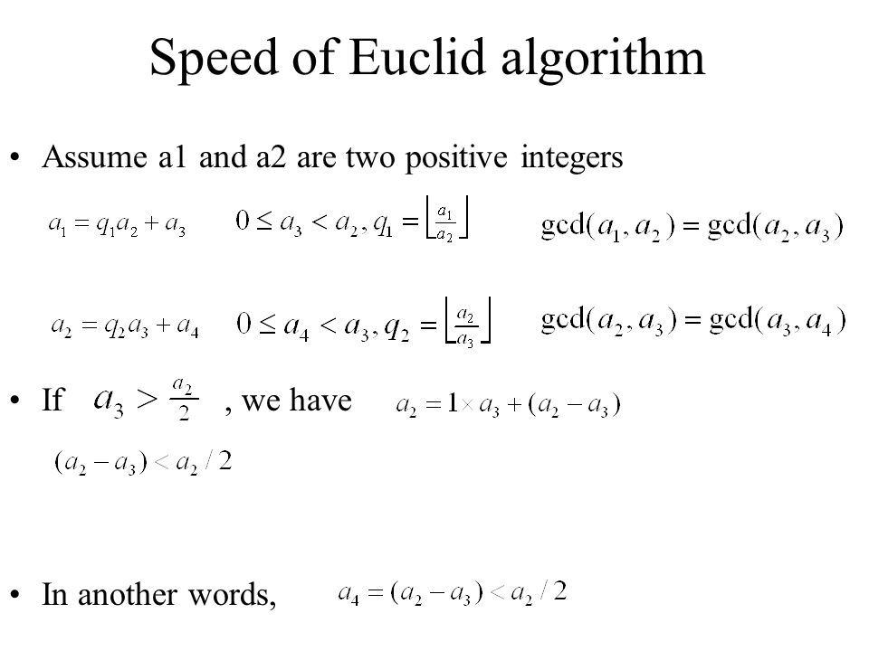 Speed of Euclid algorithm