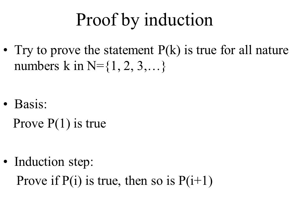 Proof by induction Try to prove the statement P(k) is true for all nature numbers k in N={1, 2, 3,…}
