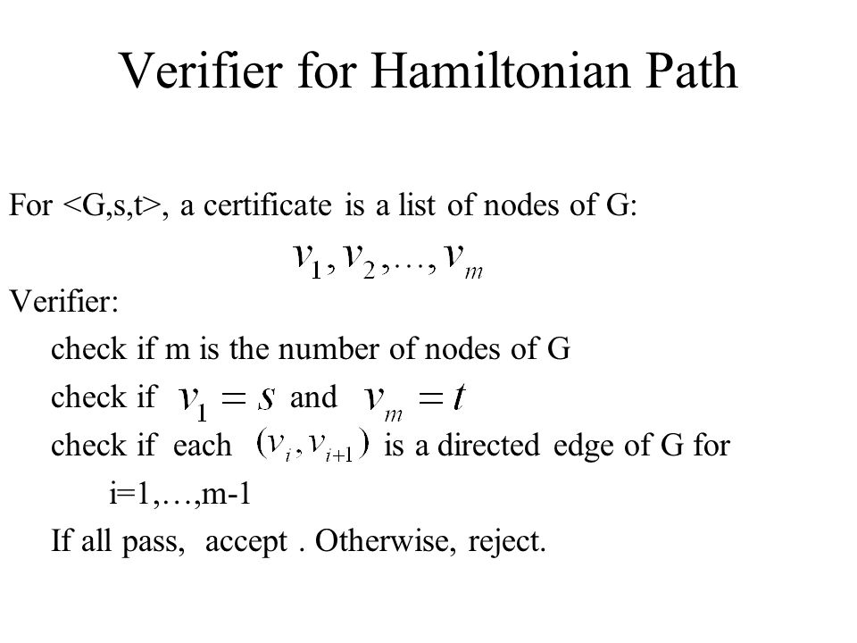 Verifier for Hamiltonian Path