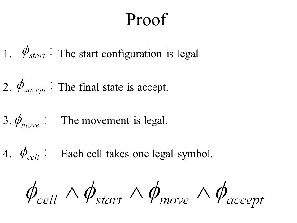 Proof The start configuration is legal The final state is accept.