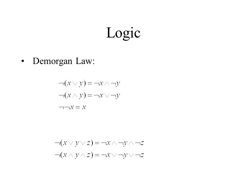Logic Demorgan Law: