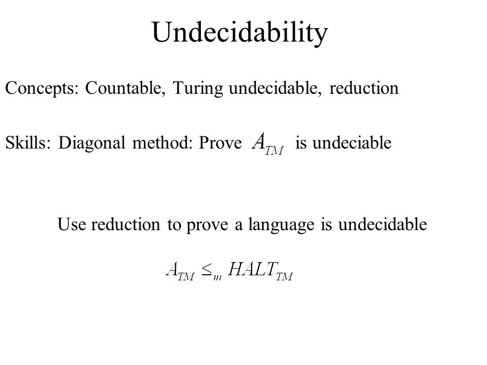 Undecidability Concepts: Countable, Turing undecidable, reduction