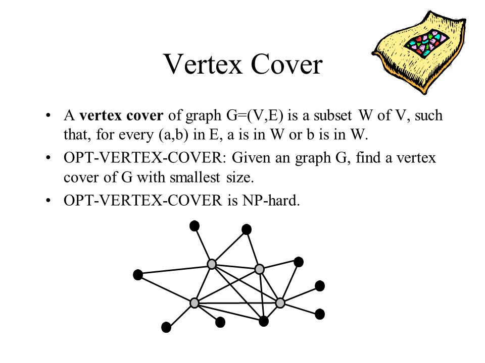 Vertex Cover A vertex cover of graph G=(V,E) is a subset W of V, such that, for every (a,b) in E, a is in W or b is in W.