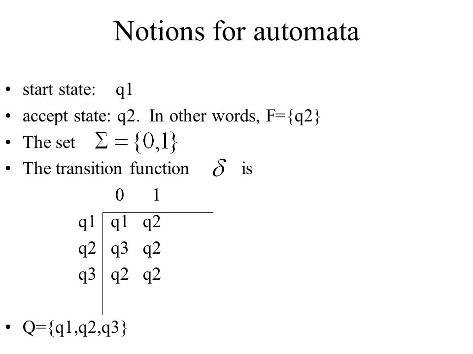 Notions for automata start state: q1