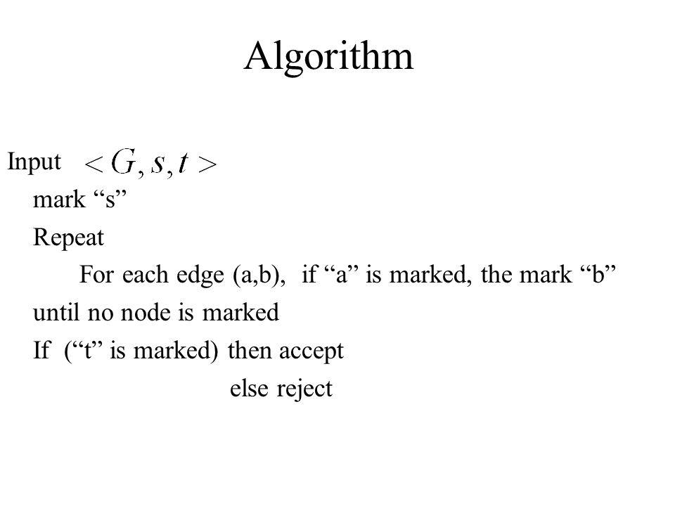 Algorithm Input mark s Repeat