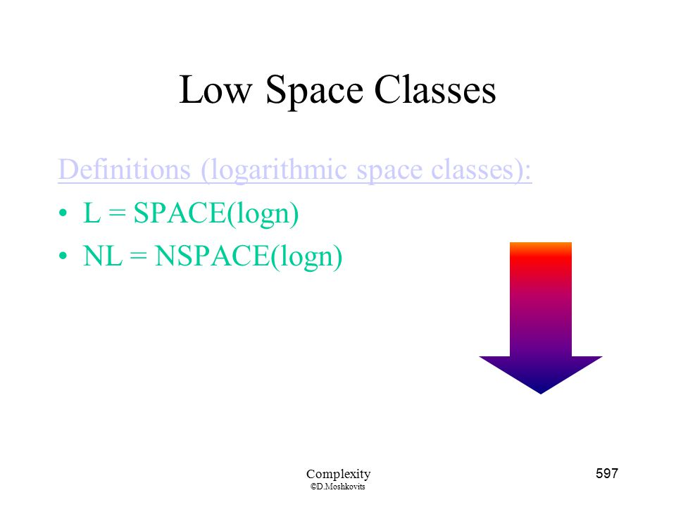 Low Space Classes Definitions (logarithmic space classes):