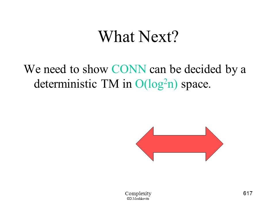 What Next We need to show CONN can be decided by a deterministic TM in O(log2n) space. Complexity.
