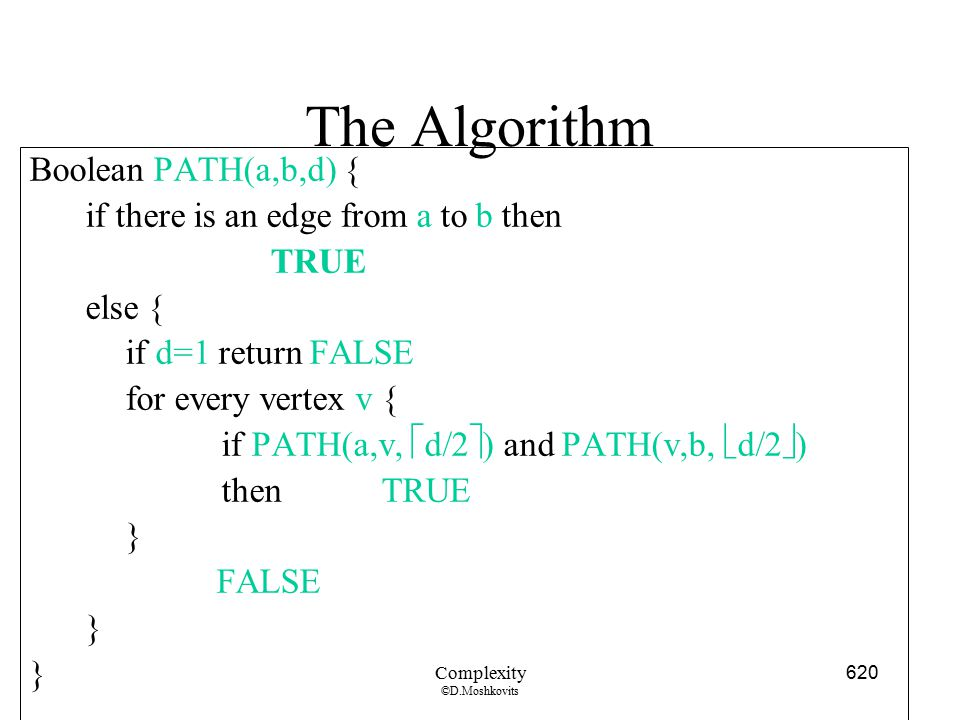 The Algorithm Boolean PATH(a,b,d) {