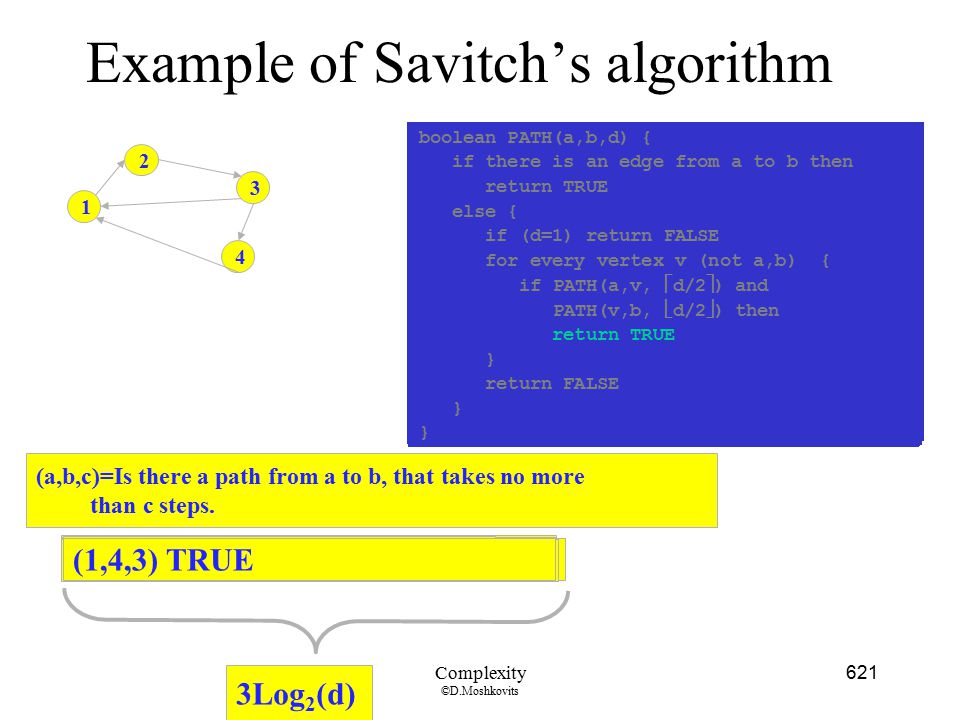Example of Savitch's algorithm