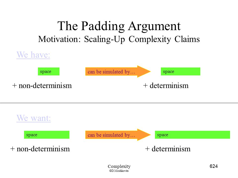 The Padding Argument Motivation: Scaling-Up Complexity Claims