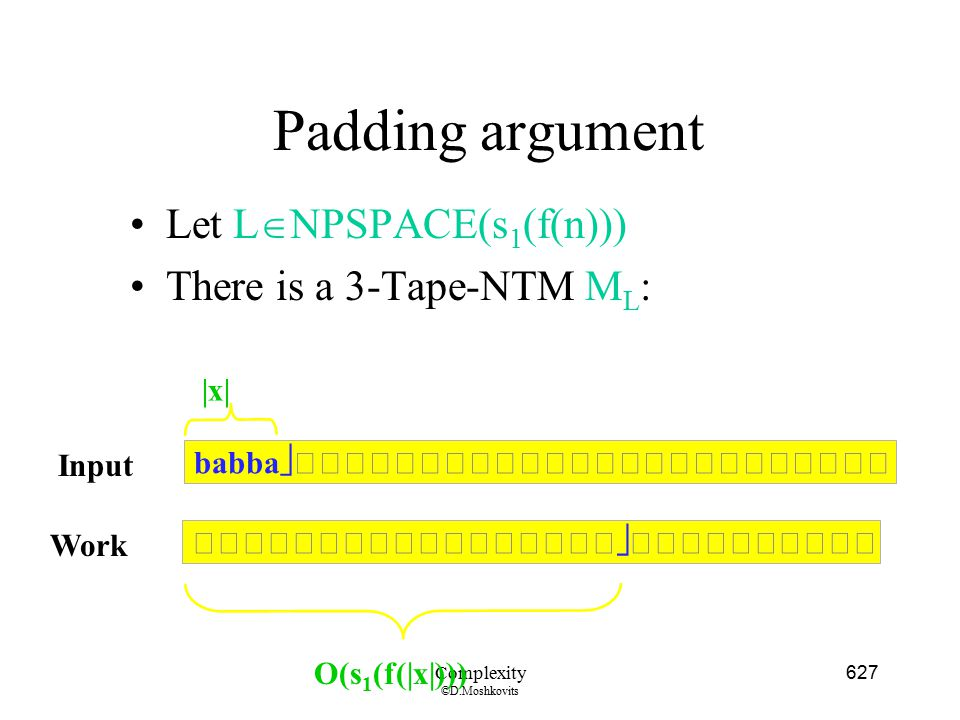 Padding argument Let LNPSPACE(s1(f(n))) There is a 3-Tape-NTM ML: |x|