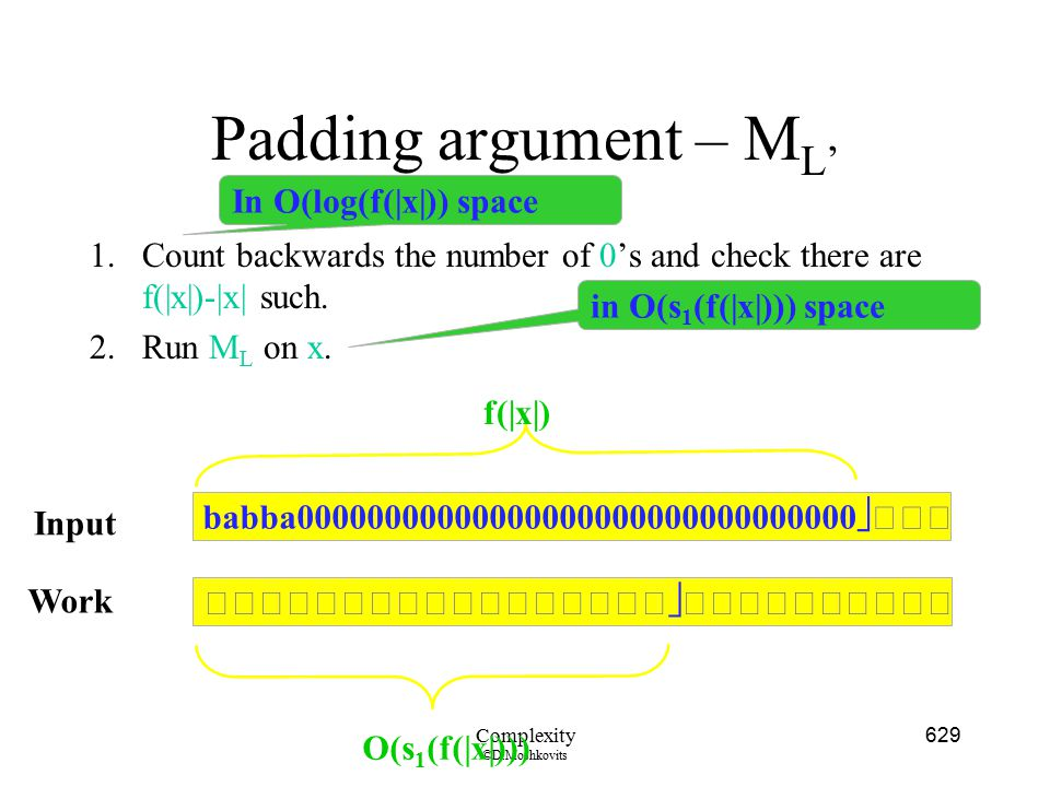 Padding argument – ML' In O(log(f(|x|)) space
