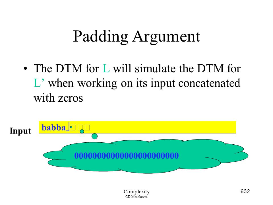 Padding Argument The DTM for L will simulate the DTM for L' when working on its input concatenated with zeros.