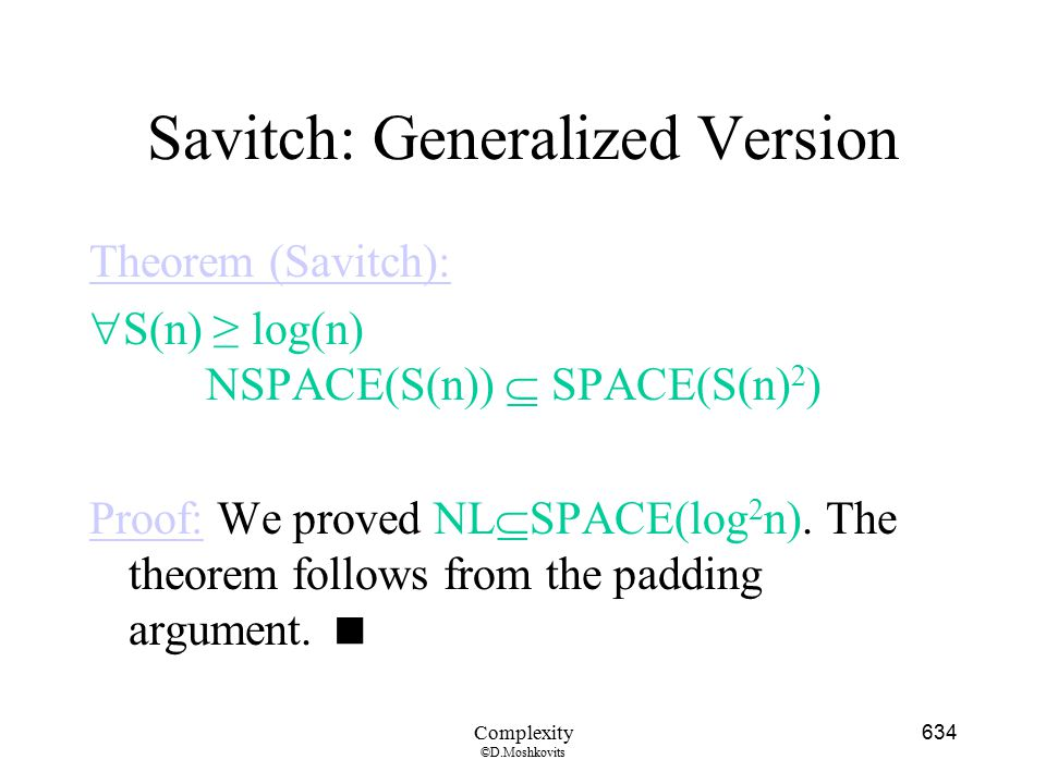 Savitch: Generalized Version