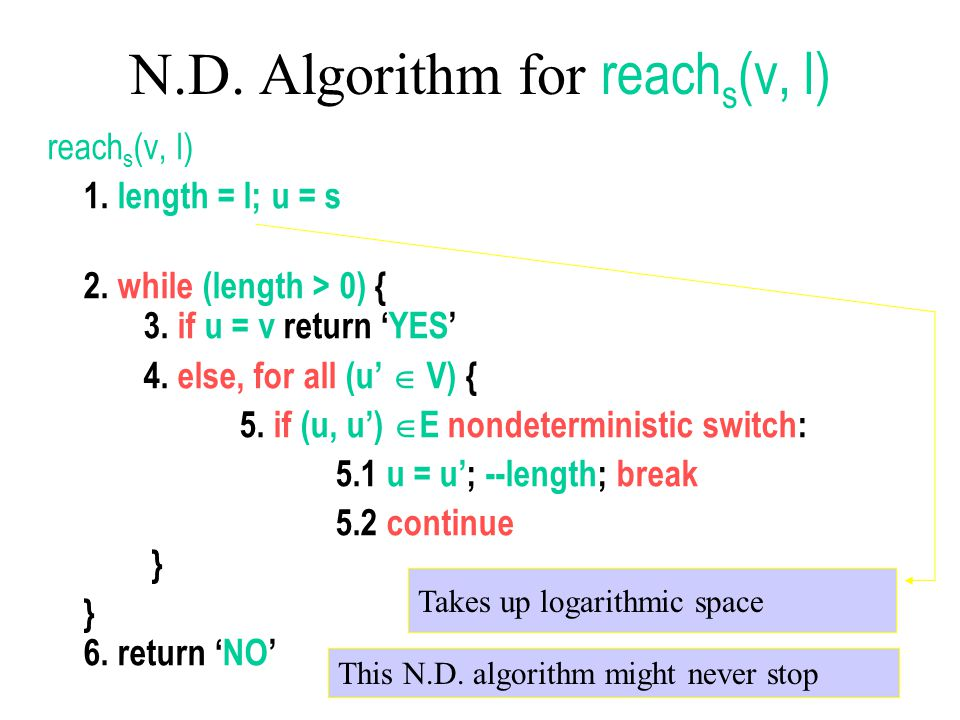 N.D. Algorithm for reachs(v, l)