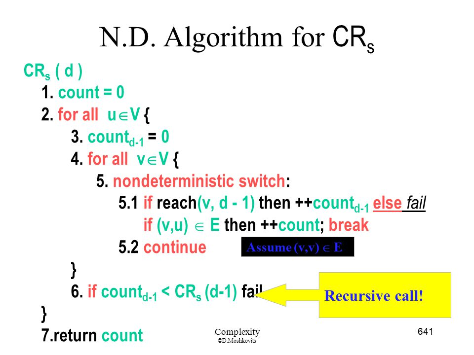 N.D. Algorithm for CRs CRs ( d ) 1. count = 0 2. for all uV {