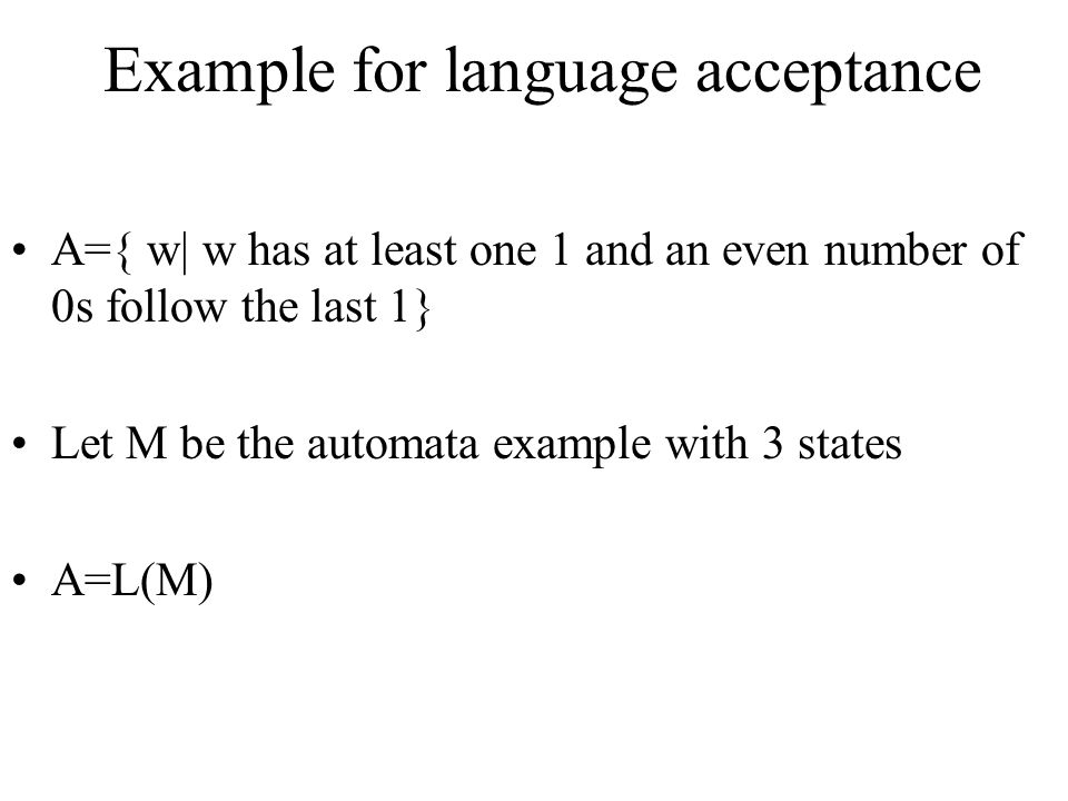 Example for language acceptance