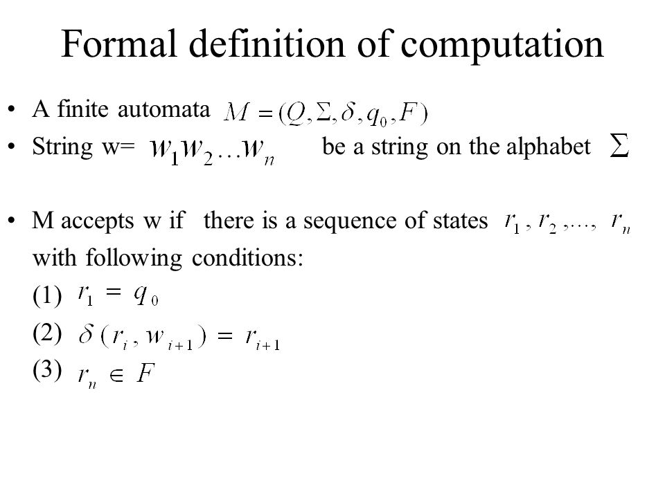 Formal definition of computation