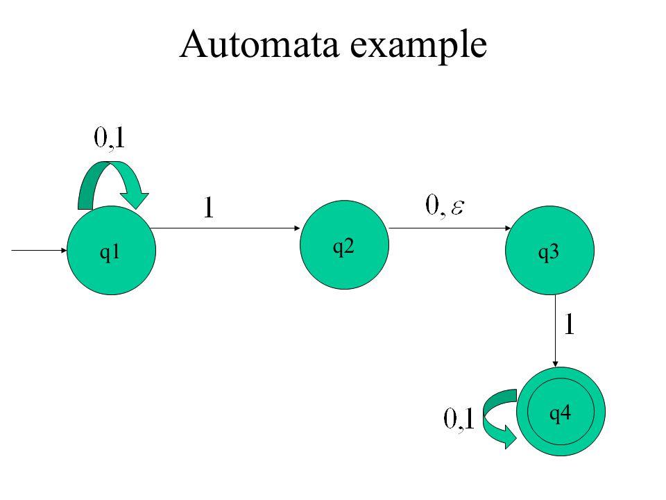 Automata example q2 q1 q3 q3 q4 q2