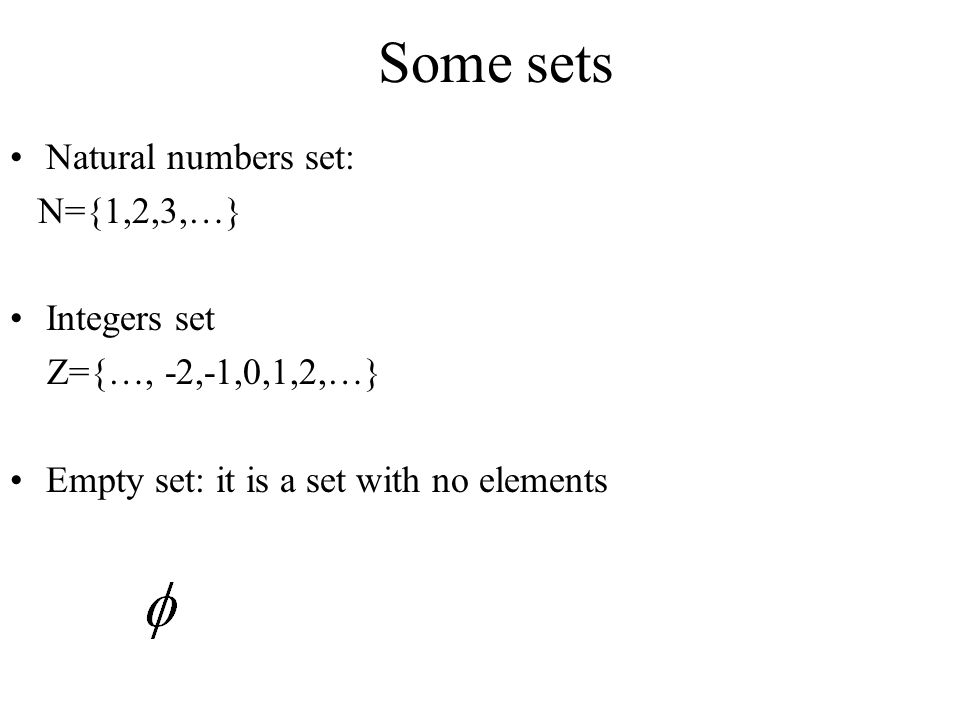 Some sets Natural numbers set: N={1,2,3,…} Integers set