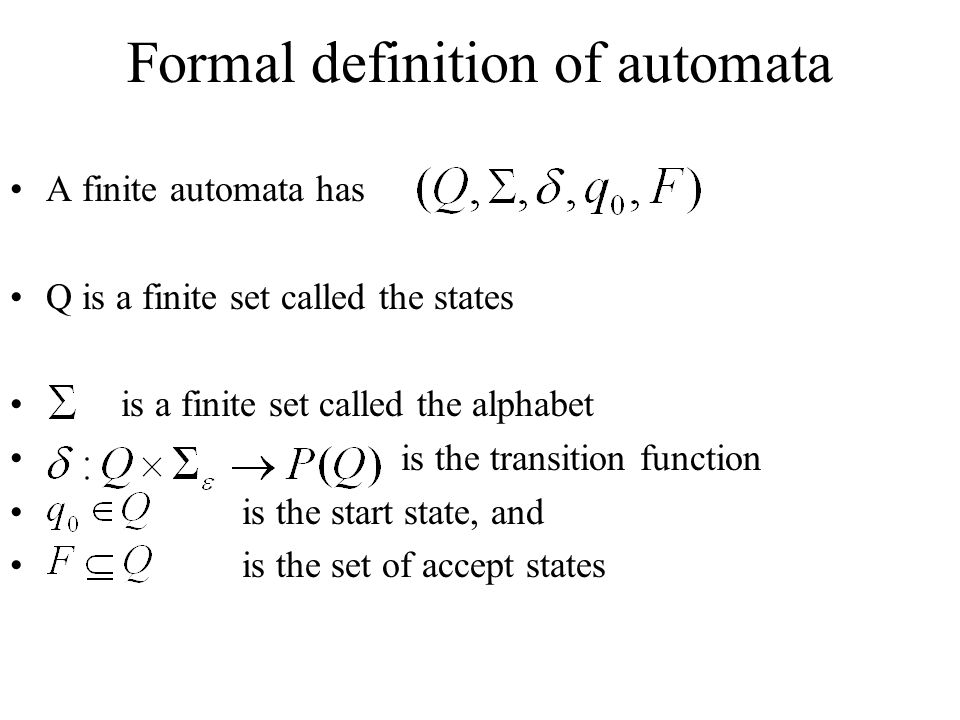 Formal definition of automata