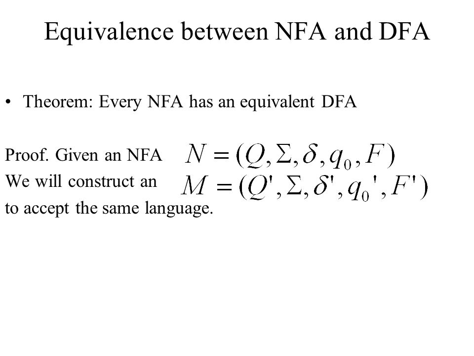 Equivalence between NFA and DFA