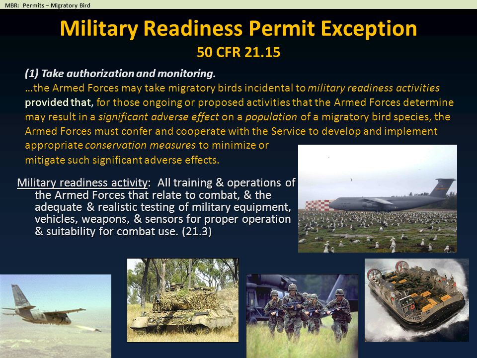 Military Readiness Permit Exception 50 CFR 21.15
