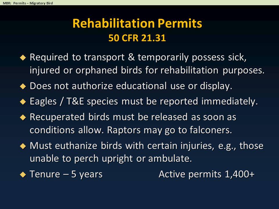 Rehabilitation Permits 50 CFR 21.31